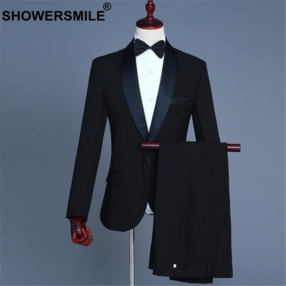 SHOWERSMILE Men's Dress Suits Jacket 3 Pieces Set Black Wedding Groom Costume Formal Mens Suits With Pants Slim Fit Blazer Suits
