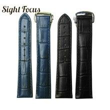 Черный, коричневый, синий ремешок для часов Omega Leather Band De Ville Seamaster Speedmaster ремешок 19 мм 20 мм 21 мм застежка браслет