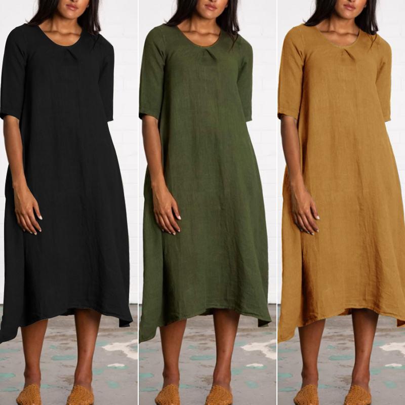 ZANZEA Women's Dress Lady Cotton Half Sleeve Solid Mid-Calf Vestidos Baggy Midi Dresses Fashion Long Shirts Robe Femme Plus Size