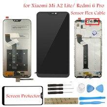 Display lcd para xiao mi a2 lite/vermelho mi 6 pro lcd tela de toque + montagem do quadro lcd peças reparo da tela toque