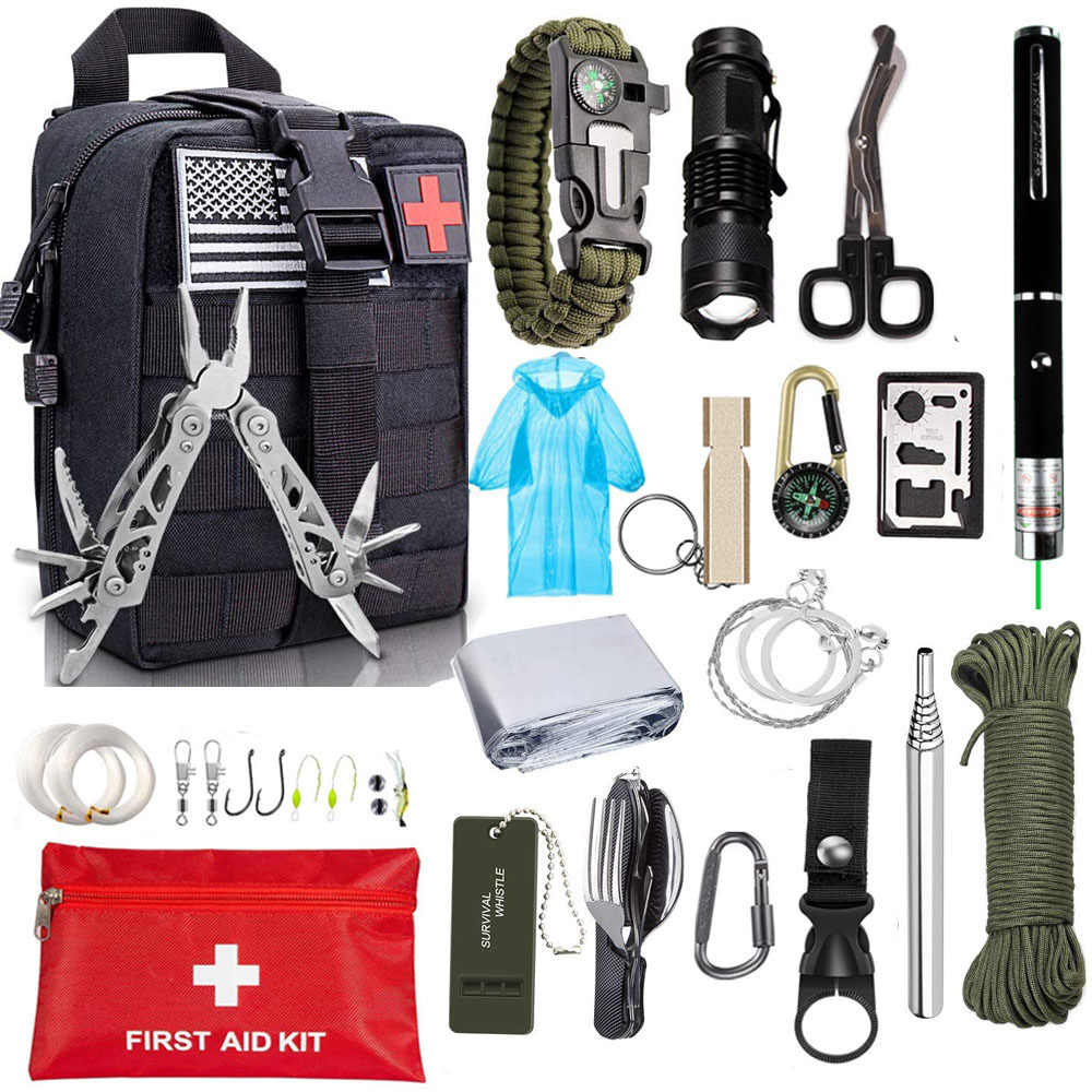 10 in 1 Camping Survival Kit Outdoor Military Tactical Backpack Emergency Gear