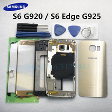 Boîtier complet étui pour samsung Galaxy S6 G920F S6 Edge G925F avant verre cadre moyen batterie porte arrière verre couvercle arrière + outils