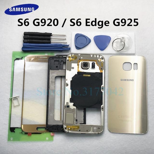 フルハウジングケース三星銀河 S6 G920F S6 エッジ G925F フロントガラスミドルフレームバッテリードアバックガラスリアカバー + ツール