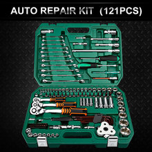 цена на 121PCS Car Repair Tools Mechanic Tools Set Socket Wrench Tools for Auto Ratchet Spanner Screwdriver Socket Set Hex Key