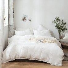 2/3Pcs/set White Fringed Tassel Duvet Cover Set Polyester Comforter Bedding Set US EU Sizes NO SHEET