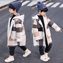 New Arrivals Autumn Winter Boys Hoodies Coat For 2-13 Year Toddler Kids Long Sleeve Plaid Casual Tops Outwear Coats Two Colors