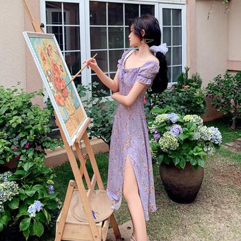 summer womens fashion plus size lavender purple chiffon dress female large vintage floral printed girls slit