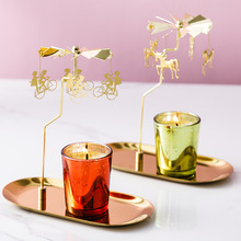Spinning Candlestick Rotary Tea Light Candle Holder Carousel Metal Home Decors TN99
