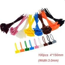 Цветные нейлоновые кабельные стяжки 4*100 мм с записываемыми