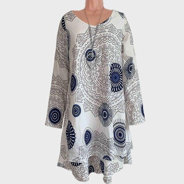 Taniafa 2019 New Arrival Fashion Autumn Women Long Sleeve Mini Dresses Casual Print Double Layer Party Dress Plus Size 1