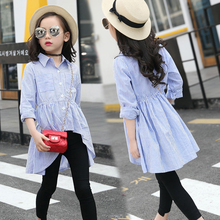 Cotton Girls Blouses Fashion Striped Swallowtail Shirts Kids Tops Special Baby Girls Clothes Teenagers Outwear Vestidos