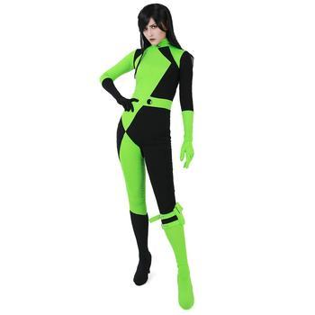 High Quality Adult Womens Kim Shego Cosplay Costumes Female Personality Super Villain Costume Spandex Lycra Zentai Full Bodysuit tanie i dobre opinie COCLSTIK Kostiumy