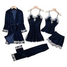 Осенне зимний новый женский Бархатный комплект ночного белья