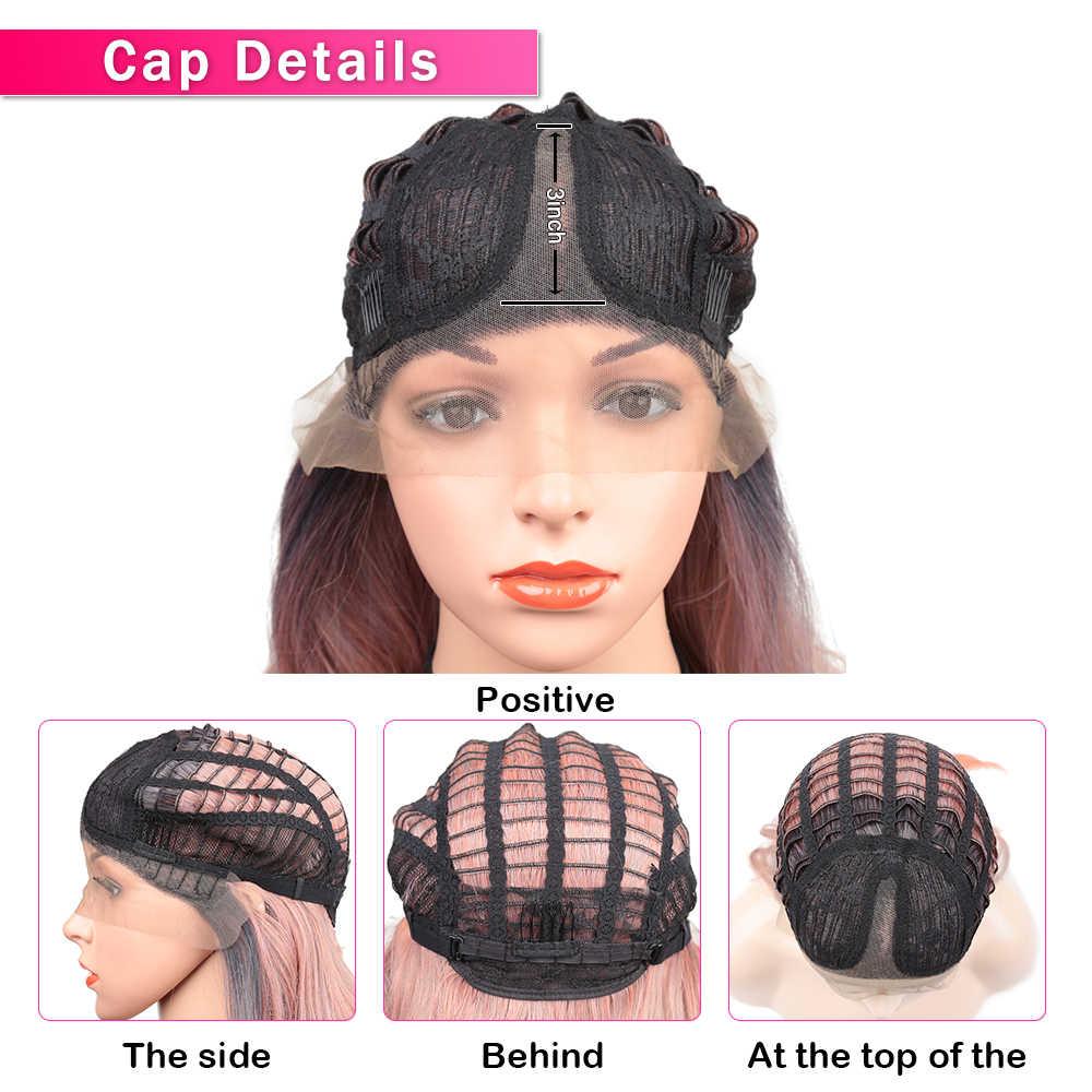 Парики из искусственных волос лента спереди парики для женщин длинные натуральные волнистые парики термостойкие Омбре Черный Розовый Косплей Парик золотой красота