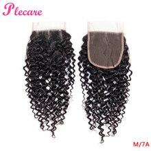 Plecare 4*4 закрытие шнурка бразильские кудрявые 8-20 дюймов натуральный цвет средний коэффициент не Реми человеческие волосы для наращивания