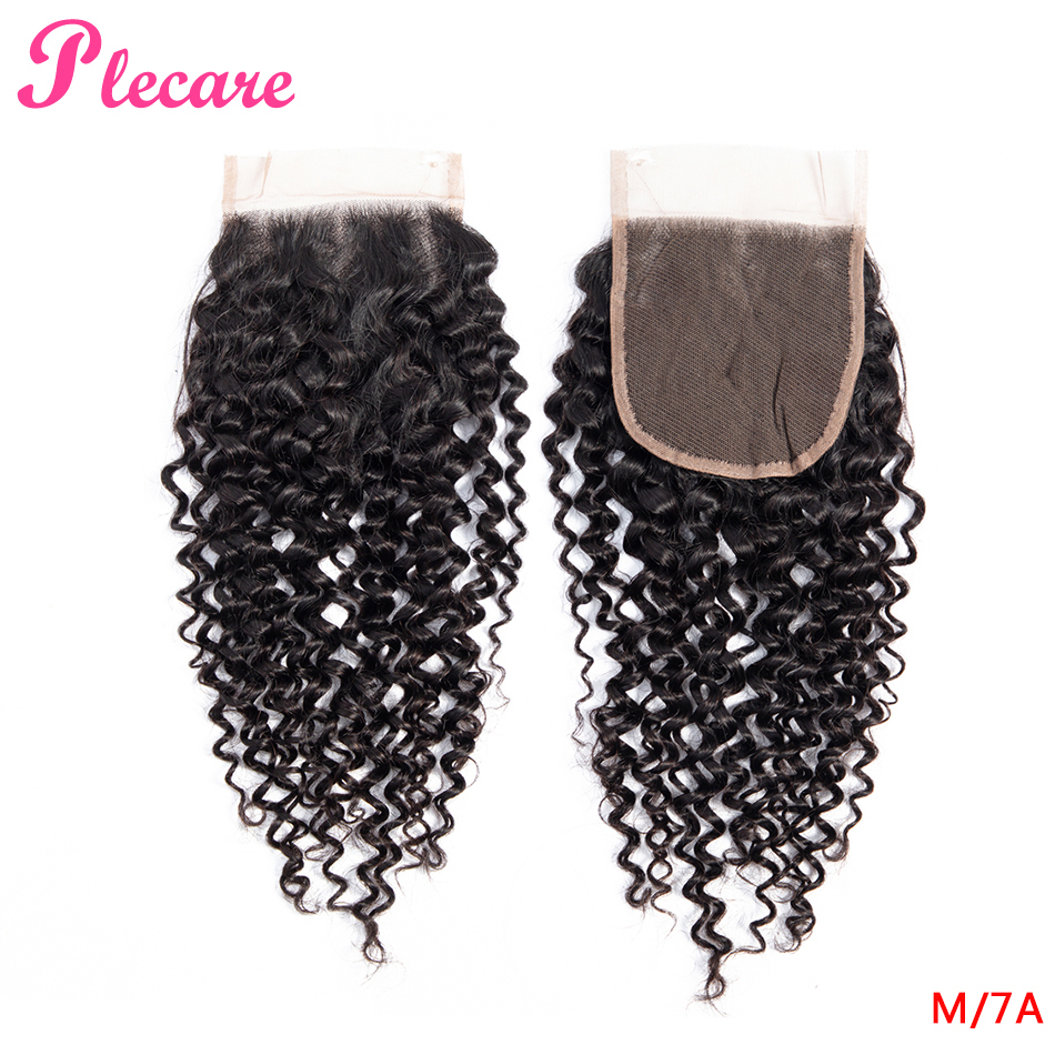 Plecare  4*4 Lace Closure Brazilian Kinky Curly 8-20 Inch Natural Color Middle Ratio Non-remy 100% Human Hair Extensions