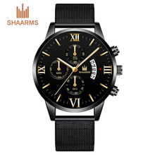 купить SHAARMS Wristwatch Men Luxury Brand Casual Quartz Watch Male Sports Clock Ultra Thin Mens Watches Relogio Masculino Dropshipping дешево