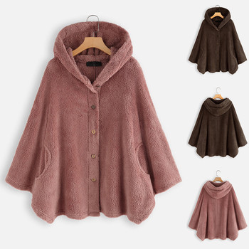 New Sweater Women Button Plush Tops Hooded Wool Pure Color Pullover Sweater Blouse Autumn Winter Swe