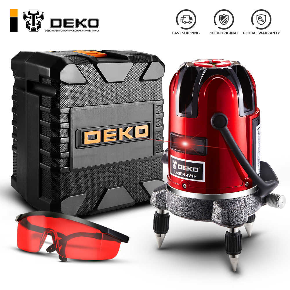 DEKO 5 Lines 6 Points Laser Level 360 Vertical & Horizontal Rotary Cross Laser Line Leveling w/ Oxfrod Case can use Receiver
