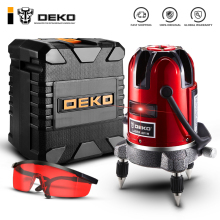 DEKO 6-Points Laser-Level Can-Use-Receiver Horizontal-Rotary Vertical 5-Lines 360 W/oxfrod-Case
