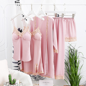 Image 5 - 2018 Women Satin Sleepwear 5 Pieces Pyjamas Sexy Lace Pajamas Sleep Lounge Pijama Silk Night Home Clothing Pajama Suit