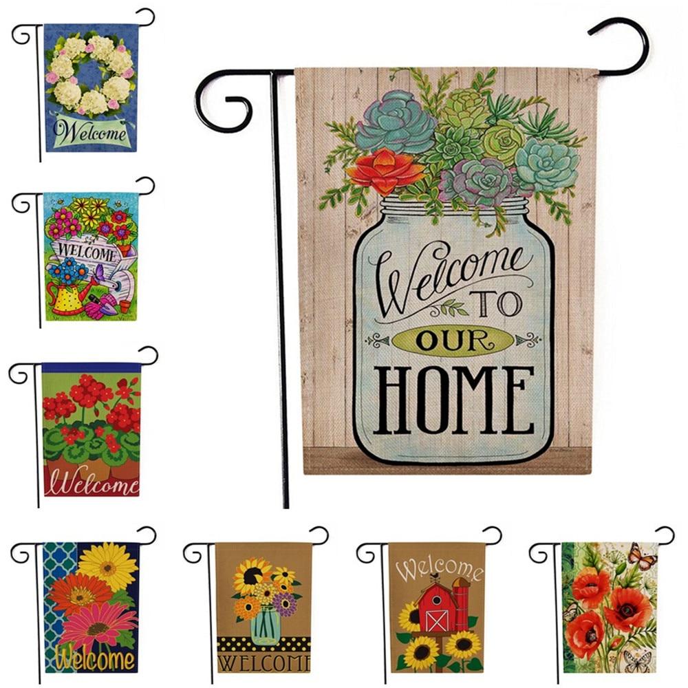 Lychee двухсторонние садовые флаги цветные цветы льняные баннеры вечерние флаги DIY праздничные украшения аксессуары