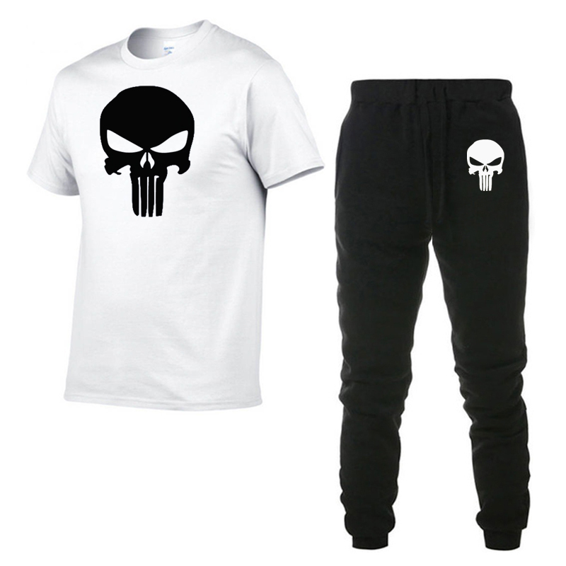 2020 Superhero Punisher Summer Hot Sale Men's Sets Two Pieces Sets Casual Tracksuit Male Tshirt Gyms Fitness Trouser