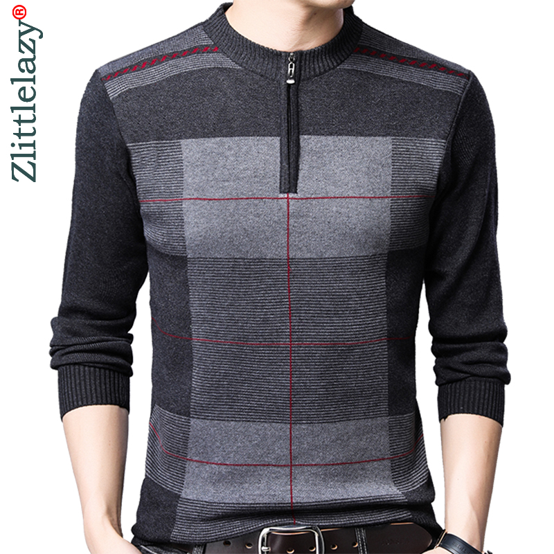 2019 Zipper Thick Warm Winter Striped Knitted Pull Sweater Men Wear Jersey Mens Pullover Knit Mens Sweaters Male Fashions 93003
