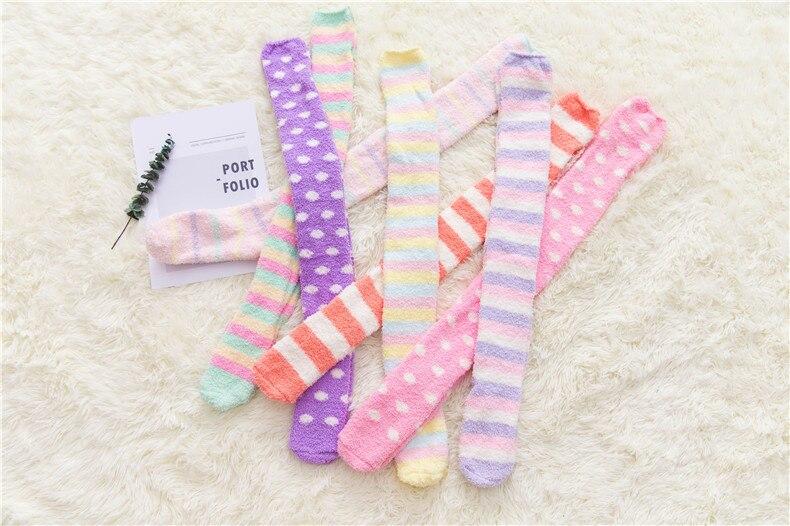 2019 New Ladies Autumn And Winter Card Through Knee Socks Thick Coral Fleece Warm Striped Socks Long Tube Sleep Socks