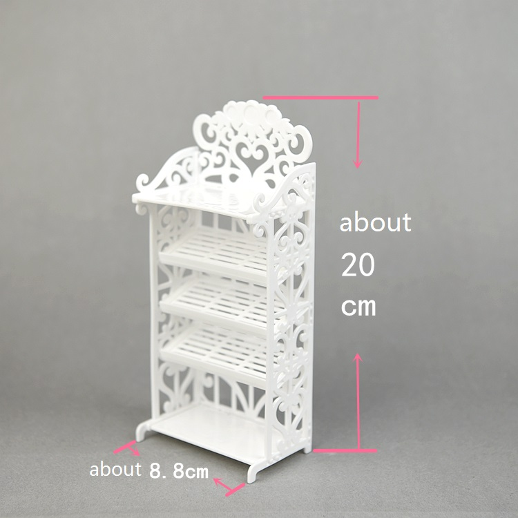 For barbie cabinet original Doll 1/6 Shoe Cabinet Shoe Rack Creative Plastic Storage doll house Accessories Assembly set white