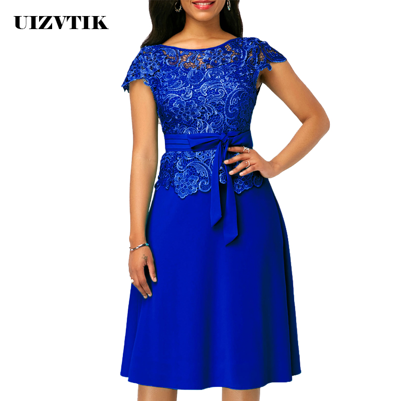 Spring Autumn Dress Women 2019 Casual Plus Size Slim Chiffon Lace A Line Dresses Vintage Elegant Sexy Bandage Long Party Dress