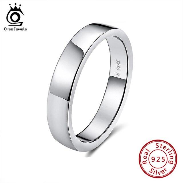 ORSA JEWELS 925 srebro mężczyźni kobiety pierścionki klasyczny prosty styl zwykły pierścień rocznica para obrączka biżuteria SR73