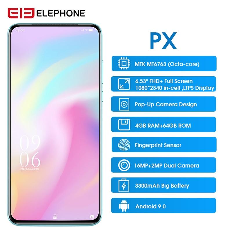 "Elephone PX  6.53"" FHD+ Full Screen 16MP Pop Up Camera  Quad Core  Global Mobile Phone Android 9.0 Fingerprint Smartphone 2019"