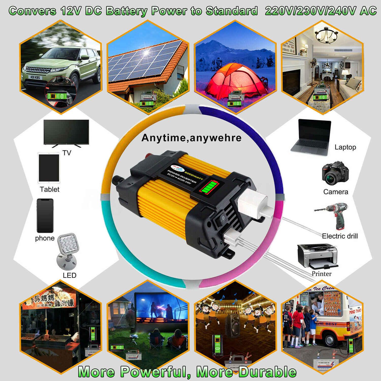 4000/6000W słoneczna samochodowa przetwornica napięcia transformator napięcia DC12 do AC110/220V sinusoida konwerter 2USB interfejsy urządzenia domowe