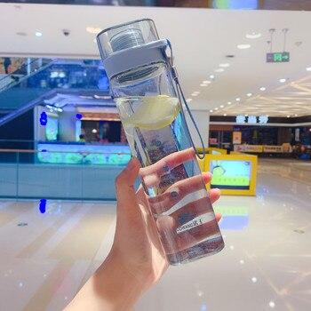 Botella de agua cuadrada, botella de bebida deportiva portátil, botellas de plástico de viaje a prueba de fugas de estilo coreano, taza de té portátil con filtro