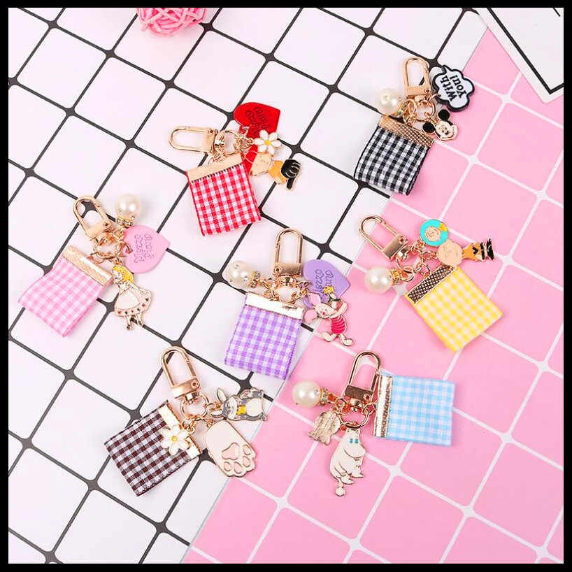 2019 NEW Cute Cartoon Airpods Pendant Car Keychains Women Girls Charm Bags key chain Accessories Lovers Key ring Wholesale