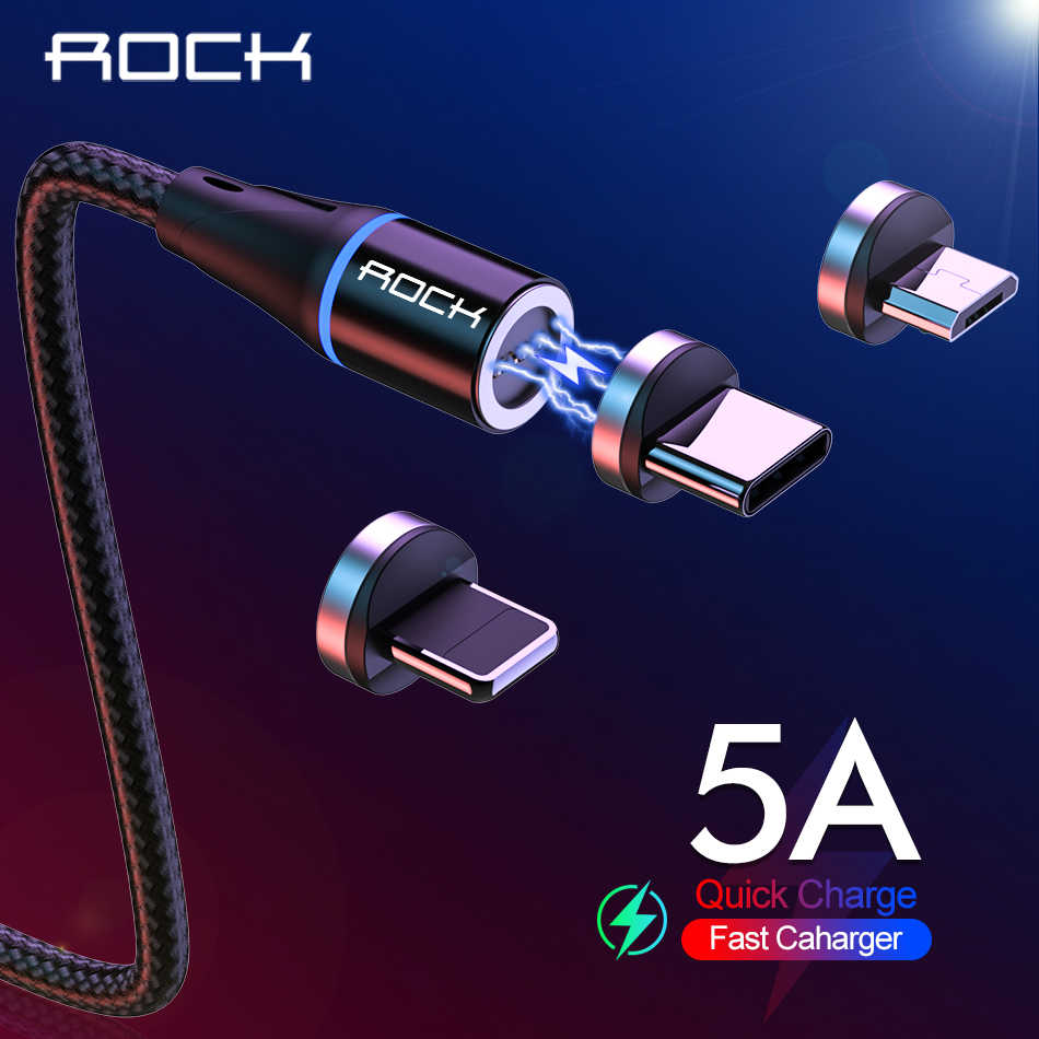 ROCK 5A Super Fast Charge Magnetic Cable  For iPhone Xiaomi Huawei Samsung Micro Usb Type C Usb C LED Light Android Phone 1M 2M