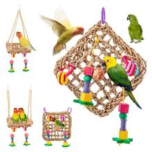 Птица игрушечные попугаи соломенная гамак жердочка для птицы качель для птичьей клетки сетчатый коврик питомец подтягивающая жевательная игрушка птица игрушки набор товары для домашних животных