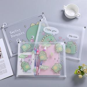 A4 Little Dinosaur Unicorn Flower Planet Thickened Zipper Bag Waterproof PVC Transparent File Folder Document pencil Bag Station