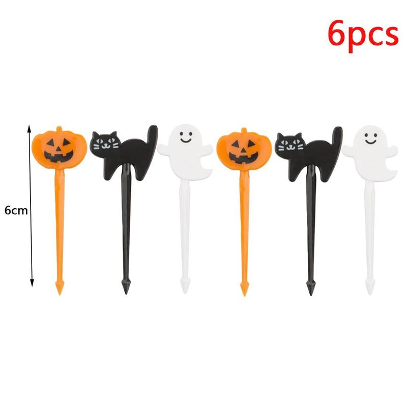 6pcs Lunch Decoration Bento Accessory Food Pick Halloween