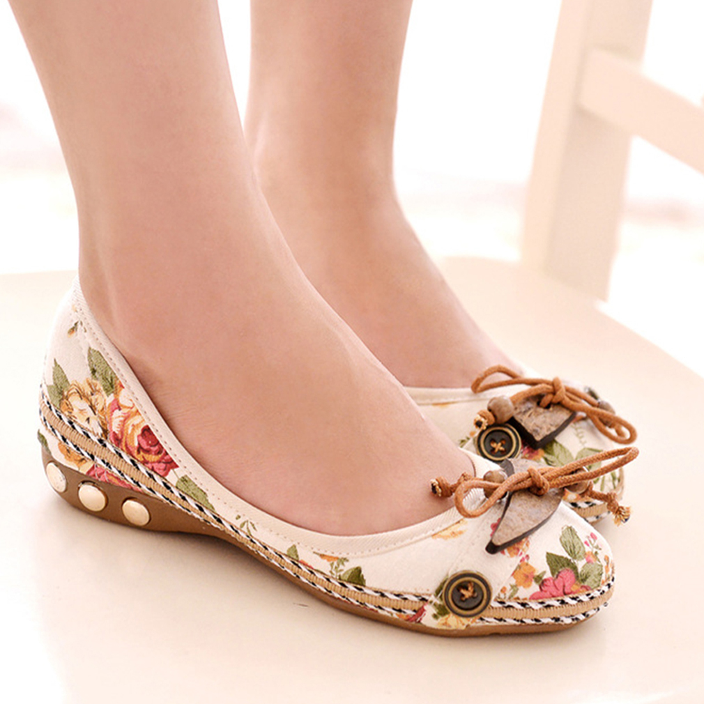 Vintage Floral Women Flats Moccasins Slip On Cotton Fabric Loafers Shoes Comfortable Ladies Shoes Flat Shoes Zapatos Mujer 2020