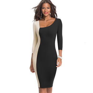 Image 4 - Nice forever Elegant Contrast Color Patchwork Office vestidos Business Party Bodycon Sheath Women Dress B546