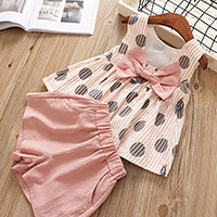 New-2019-Girls-Clothes-Set-Summer-baby-clothes-Chiffon-short-sleeved-T-shirt-Lattice-Button-Shorts (1)