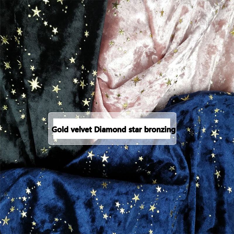 100*140cm ouro veludo diamante estrela bronzeamento tecido para vestido elástico força fina macio diy acolchoado artesanal flanela retalhos