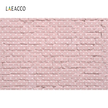 Laeacco Pink Brick Wall Portrait Baby Party Food Doll Photography Backgrounds Customized Photographic Backdrops For Photo Studio
