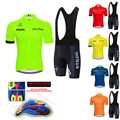 Флуоресцентные зеленые комплекты из Джерси STRAVA, красная велосипедная одежда с коротким рукавом для велоспорта, велосипедная майка, велосип...