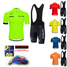 Fluorescent Green STRAVA Cycling Jersey sets red Bicycle Short Sleeve Cycling Clothing Bike maillot Cycling Jersey Bib shorts