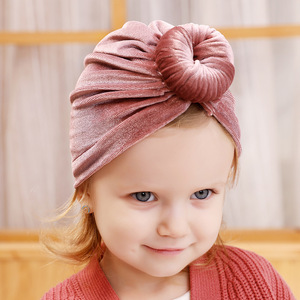 Image 2 - Turban Baby Girls Hats Knot Beanie Headband For Children Headwraps Donut Bonnet Toddler Baby Hats Photography Props KIDOCHEESE