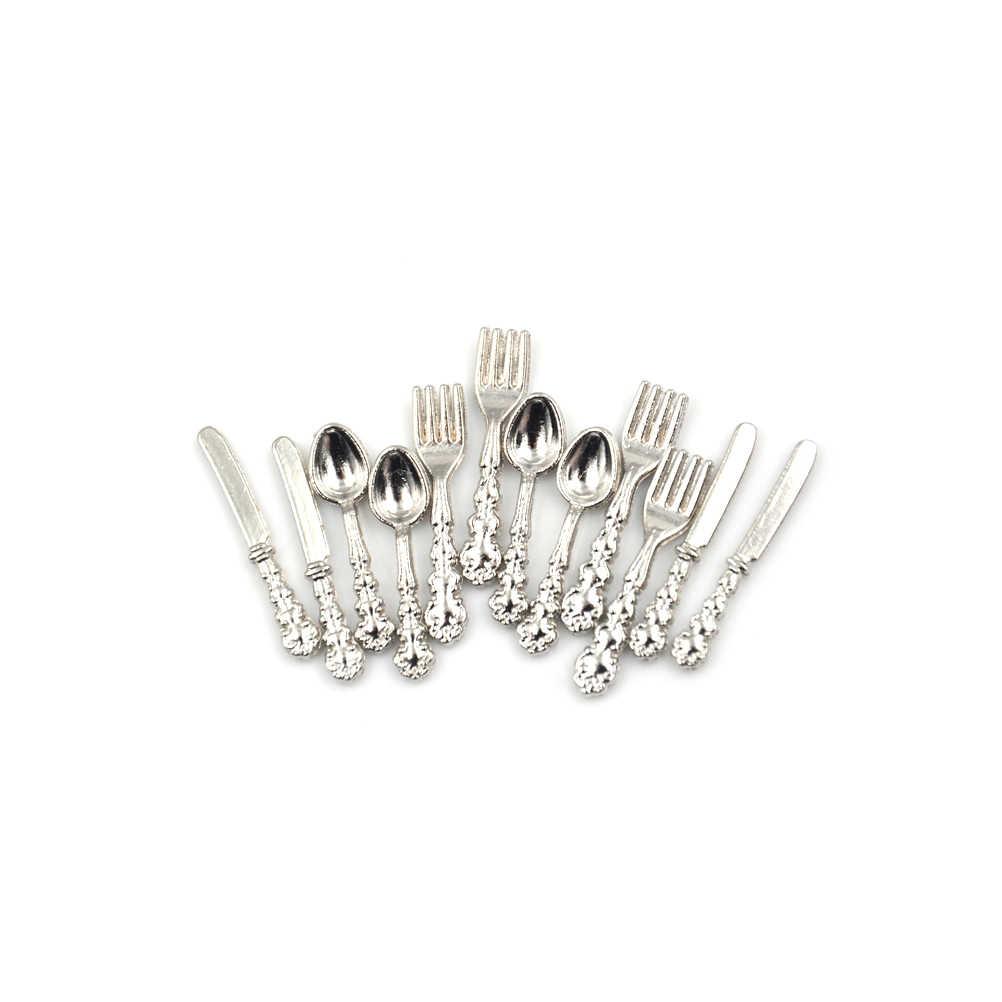 12/10 sztuk 1:12 miniaturowe akcesoria do domku dla lalek stołowe sztućce nóż widelec łyżka nóż do ciasta blok do krojenia do kuchni do jedzenia zabawkowe meble
