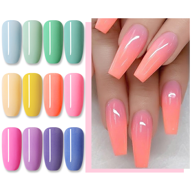 NICOLE DIARY 12/6 Boxes Dipping Nail Powder Nude Candy Nail Colors Dip Glitter Powder Gradient French Chrome Dust Nail Art Decor